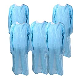 Artibetter 5Pcs Disposable Apron Plastic Waterproof Cooking Apron Medical Protection Coveralls for Home Doctors Adults…