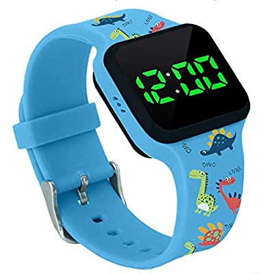 Potty Training Timer Watch with Flashing Lights and Music Tones - Water Resistant, Rechargeable, Dinosaur Pattern Colorful Band, Discreet, Smart Sensor, Potty Training Watch by Athena Futures Inc.