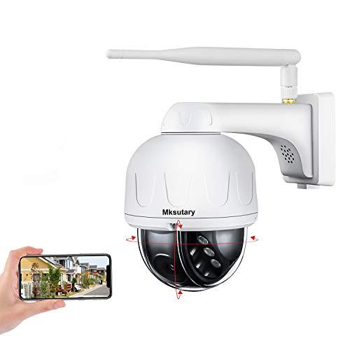 Camera Surveillance WiFi Extérieure, Dôme Caméra IP 360° HD 1080P - Etanche IP66 - Vision Nocturne Infrarouge - Alerte de Détection de Mouvement