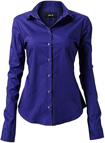 Harrms Damesblouse basic shirt workwear slim fit lange mouwen katoen effen gekleurd voor pak business werk met borsttas gemakkelijk te strijken, 11 kleuren