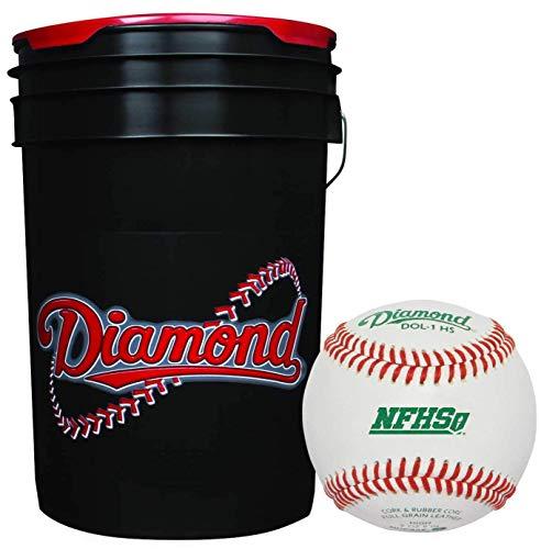Diamond 6-Gallon Bucket with 5 Dozen (60) Diamond DOL-1 HS NFHS Leather Baseballs