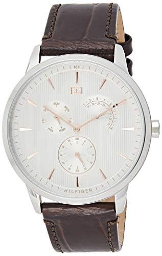Tommy Hilfiger Herren Multi Zifferblatt Quarz Uhr mit Leder Armband 1710389