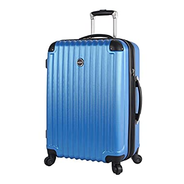Lucas Outlander Large Hard Case 28 inch Expandable Rolling Suitcase With Spinner Wheels (One Size, Blue)