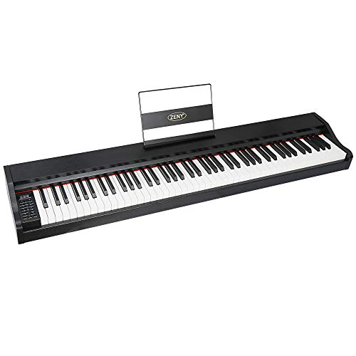 ZENY 88 Key Beginner Digital Piano Full Size Keyboard with Semi Weighted Keys, Built in Speakers and Power Supply