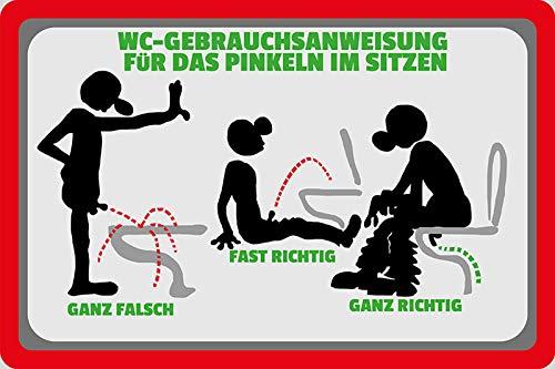 NWFS Spruch WC Gebrauchsanweisung Toilettenordnung Kloordnung Toilette Blechschild Metallschild Schild Metal Tin Sign gewölbt lackiert 20 x 30 cm