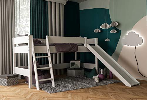 Furnneo kinderbed, hoogslaper, incl. glijbaan, valbeveiliging & ladder, ligvlak 90 x 200 cm, massief beuken, wit