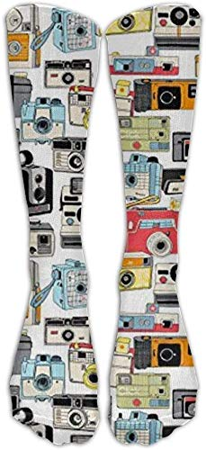 JAONGSADY NEW Make It Snappy! Vintage camera illustraties analoog fotografie film Athletic tube stokings dames heren klassiek knee High Socks Sport Long Sock