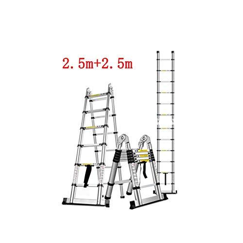 ZPWSNH telescopische ladder-huishoudbamboe-binnentechniek, de net dubbele ladder van de visgraadbeen vouwt, multifunctionele aluminiumlegering opstapkruk