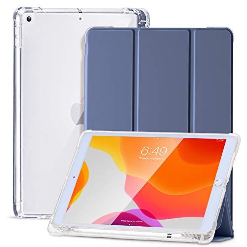 SIWENGDE Hülle für iPad 8.Generation 2020/7.Generation 2019,Schlankes weiches TPU Durchscheinend Mattiert Zurück Schutz hülle für iPad 10,2 Zoll mit Stifthalter,Auto Wake/Sleep (Lila)