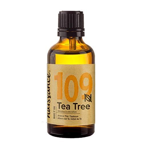 Naissance Olio Essenziale di Tea Tree (Albero del tè) 50ml - Puro, Naturale, Cruelty Free, Vegan, Distillato a Vapore e Non Diluito - Usato in Aromaterapia e Massaggio - Aroma Calmante e Purificante