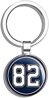 HJ Media Round #82 Jason Witten Cowboys Colors (Dallas Number 82) Metal Round Metal Key Chain Keychain Ring