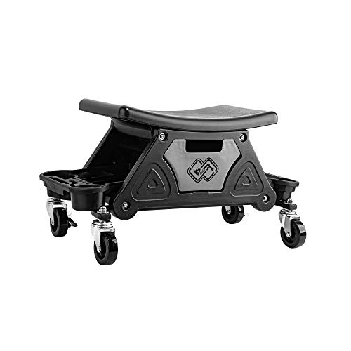SGCB Automotive Mobile Rolling Mechanics Stool, Heavy Duty Roller Creeper Seat Chair on Brake Wheels W/Storage Drawers Tray Mechanic Stool Roller Seat for Home DIY Garage Car Detail, 220 Lbs Capacity