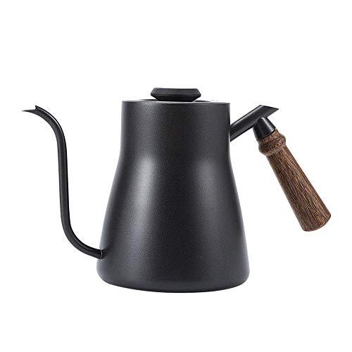 Tetera de goteo 850ML Tetera de café Teflón de acero inoxidable Tetera de goteo de café con termómetro creativo con mango de madera, A