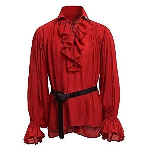 12222 Camisa con Cordones renacentista Medieval Tnica Medieval Traje Caballero Viking Guerrero Camiseta con Cinturn para Hombres Disfraz de Pirata de la Edad Media