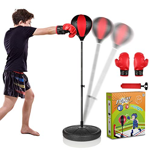 UNINETIC Punching Bag for Kids with Boxing Gloves | 3-8 Years Old Adjustable Kid Punching Bag with Stand | Boxing Bag Set Toy for Boys & Girls | Freestanding Punching Ball Boxing Speed Bag
