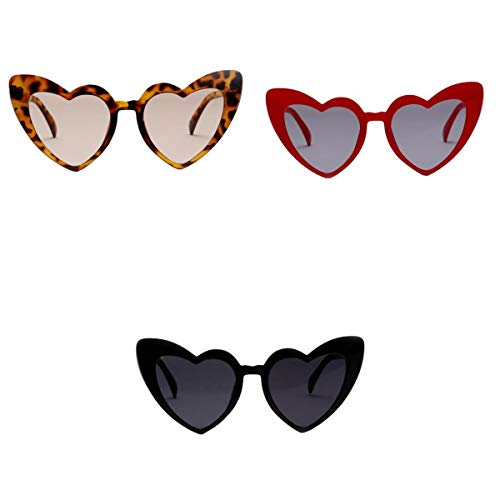 Baoblaze 3x Óculos De Sol Em Forma De Coração De Amor Retro Cat Eye Mod Style