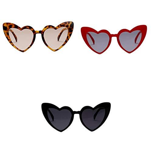 Amuzocity 3X Gafas de Sol en Forma de Corazón para Mujer Estilo de Moda
