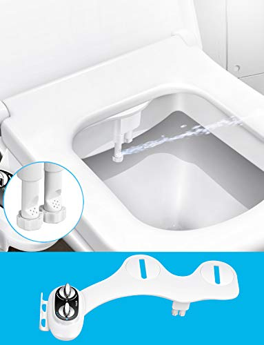 Toilet Seat Bidet Attachment, UFFU Non Electric Bidet for Toilet Women with Phone Holder| Self-Cleaning Dual Nozzle| Female Cleaning| Bidet Wash with Adjustable Water Pressure for Easy Installation