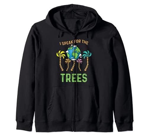 Hablo por los árboles Día de la Tierra Salvar la Tierra Inspiración Hippie Sudadera con Capucha