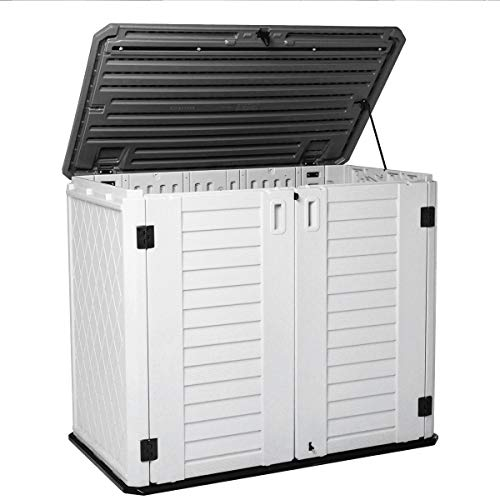 Horizontal Outdoor Garden Storage Shed for Backyards and Patios,Waterproof Storage Box,26 Cubic Feet Capacity for GarbageCans, Lawnmower,Tools and Garden Accessories,Light Beige (White)