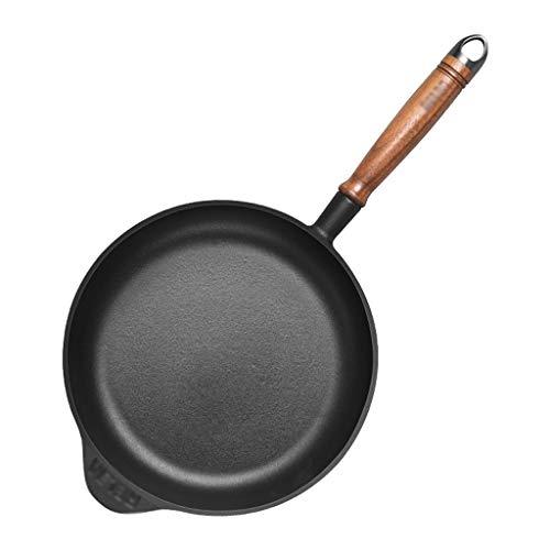 26cm|Gourmet Antistick Inductie Koekenpan |Gietijzeren Skillet|Platte bodem Saucepan|met Walnoot Hout Handvat |Gemakkelijk Reinig| Geschikt voor alle inductiekookplaten AAA~