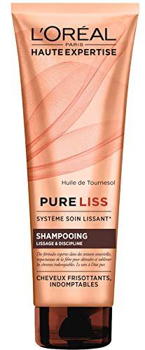 L'Oréal Paris Pure Liss Shampoing Sans Sulfate à l'Huile de Tournesol - Lissage & Discipline - Cheveux Frisés & Indomptables - 250 ml