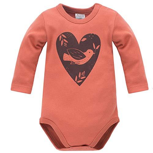 Pinokio - Little Bird - Bodys Bébé Fille Rouge Rosa Thème avec Coeur Oiseau Manches Longues 100% Coton Baby 62 68 74 80 86 cm (74 cm, Rouge)