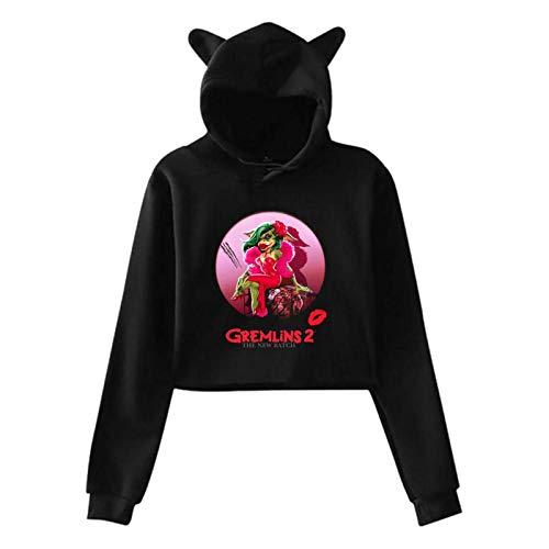 Ahdyr Gremlins suéter de Manga Larga suéter de Mujer Casual Holgado con Capucha Oreja de Gato