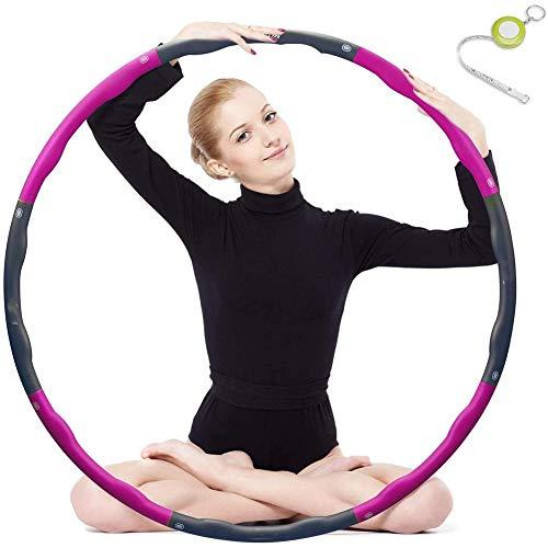 Hula Hoop, Plegable Fitness Wave Peso Ajustable Ancho 48-88cm (26.8-34.6in) para Jóvenes Adultos Damas Gym Ejercicio con Regla de Cintura,Rosado