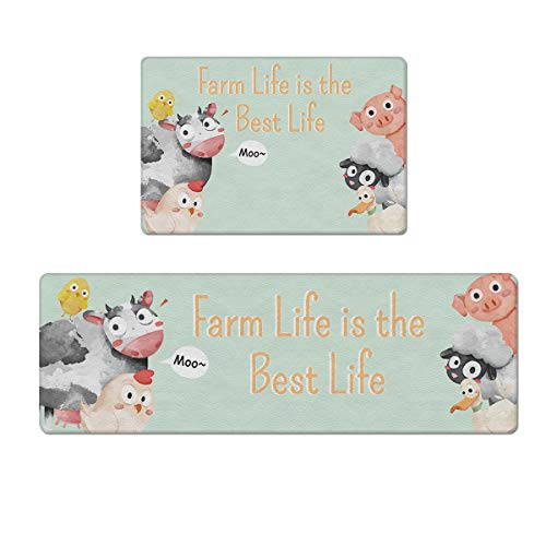 Prime Leader 2 Piece Kitchen Rugs Set Non-Slip Floor Mat Farm Life is Best Life Cow Animal Pattern PVC Cushioned Comfort Rugs - Kitchen Mat/Floor Mat/Bath Rug - Waterproof Wipe Clean