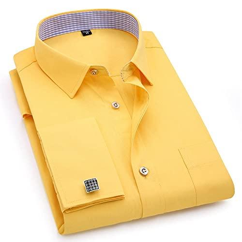 RuaRua Camisas Hombres,Gemelos Franceses, Manga Larga con Cuello Abotonado Entallado, Moda Informal Social, Camisa De Negocios para Hombre, Amarillo, XL