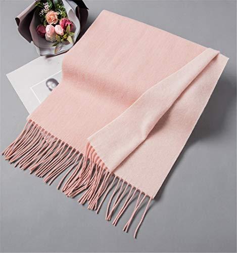 XLNSMZ Herbst und Winter Reiner Kaschmir Quaste Schal Damen dicken einfarbigen doppelseitigen Wollschal, rosa
