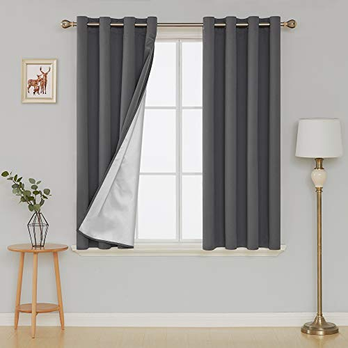 Deconovo Grommet Blackout Curtains Thermal Insulated Light Blocking Drapes with Silver Coated Back for Living Room 52W x 63L Inch Sky Blue 2 Panels