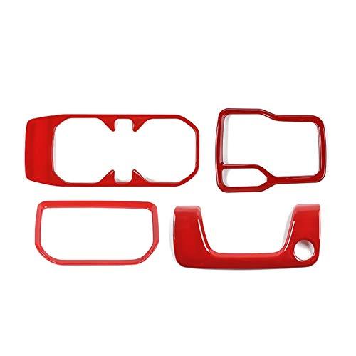 Warmhouse Interior del automóvil 4-DW Gear Mayúscula Panel Frontal Copa Delantera Caja de la Cerradura Pegatina de Ajuste Ajuste para Jeep Wrangler JL 2018-2019 (Color Name : Red)