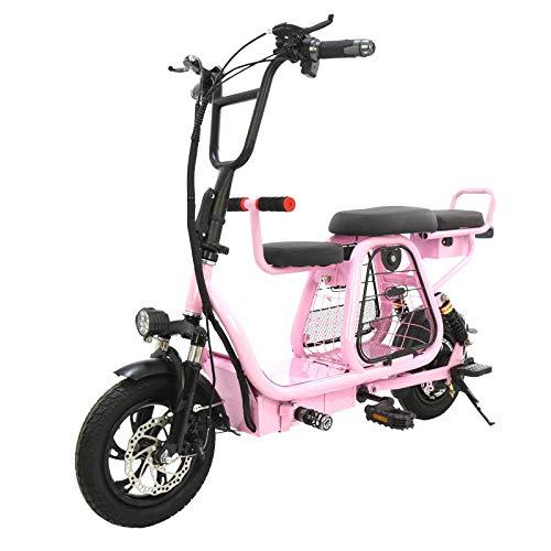 RVTYR 12 Pulgadas Bicicleta Plegable eléctrica con Adultos Cesta Mascota Bicicleta eléctrica batería de Viaje extraíble 2 Scooter de Rueda de la batería Bicicleta electrica (Color : Pink)