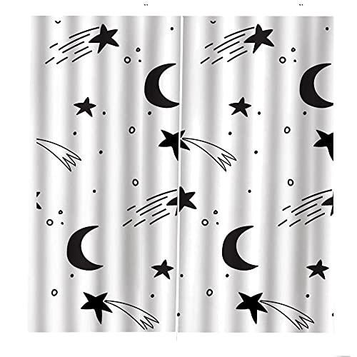 Cortinas impresas en 3D Patrón de media luna de estrella de dibujos animados negro blanco Cortinas Opacas Térmicas Aislantes Frío Calor Ruido Luz Rayos para Salón Oficina Dormitorio 110x215cm x2