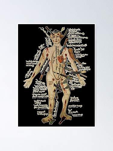AZSTEEL Póster de The Many Lives Of The Medieval Wound Man – 11.7 x 16.5 pulgadas para amigos familiares