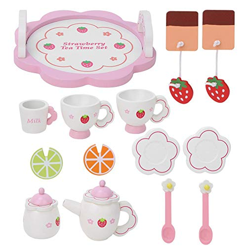 Qioniky Juguete para té, Juguete de simulación para té, insípido, no tóxico para niños, bebé(Pink Tea Set)