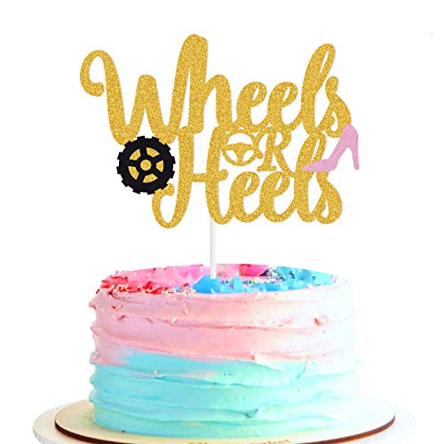 Yvokii Wheels or Heels Cake Topper Gold Glitter Gender Reveal Party Theme Perfect Boy or Girl Blue or Pink Baby Shower Birthday Wedding Anniversary Cake Decorations Supplies