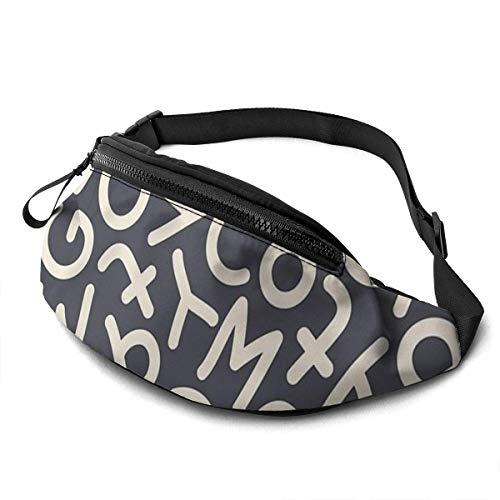 Ahdyr Mix Letters Seamless Pattern Gürteltasche 13.7 x 5.5 Zoll Unisex Running Waist Packs Fashion Casual Taillentasche und ist außerdem mit Einer Kopfhörerbuchse ausgestattet