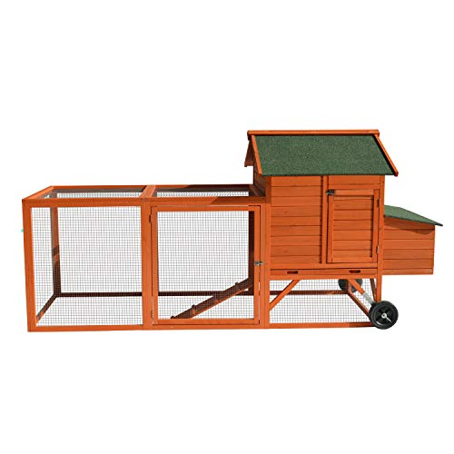 96' Deluxe Large Wooden Chicken Coop Hen House on Wheels Indoor Outdoor Rabbit Hutch Poultry Cage w/Nesting Box and Removable Tray & Ramps