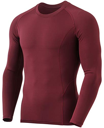 TSLA Men's Thermal Long Sleeve Compression Shirts, Athletic Base Layer Top, Winter Gear Running T-Shirt, Heatlock Round Neck Brick, X-Large