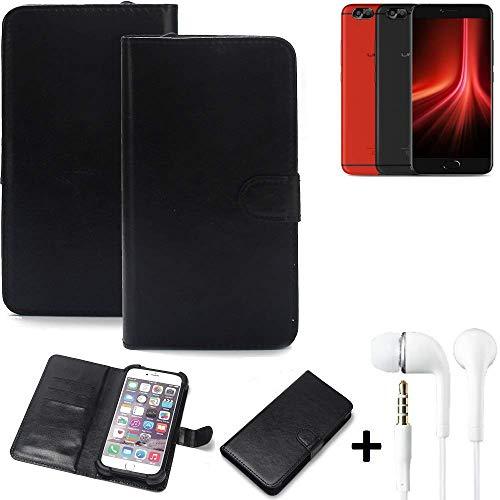 K-S-Trade® Wallet Case Handy Hülle Für UMIDIGI Z1 Pro Schutz Hülle Smartphone Flip Cover Flipstyle Tasche Schutzhülle Flipcover Slim Bumper Schwarz + In Ear Headphones