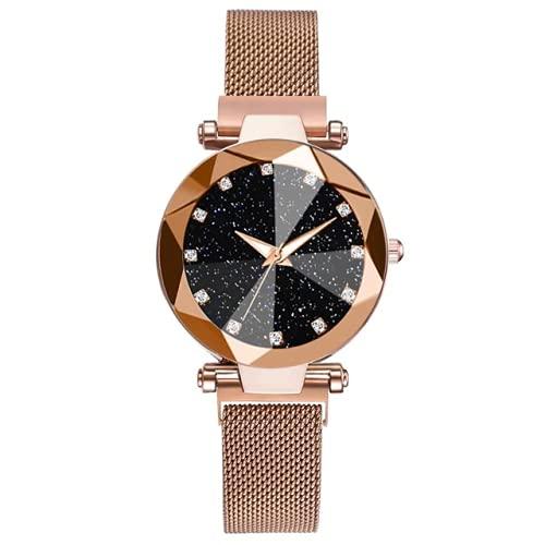 ALCENTIS – Reloj de mujer – Pulsera milanesa oro rosa – Fondo de la esfera negra estrellada con 12 pequeños brillantes