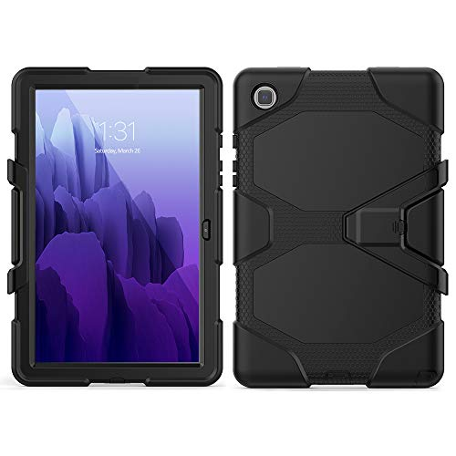 SDTEK Case for Samsung Galaxy Tab A7 10.4 Strong Rugged Tablet Cover with Built in Screen Protector, Pen Holder and Stand (Black)