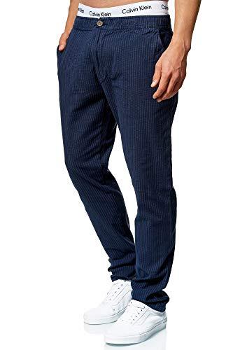 Indicode Herren Costa Karierte Stoffhose mit 4 Taschen aus 98% Baumwolle   Lange Regular Fit Stretch Hose Karo-Muster Herrenhose Baumwollhose Männerhose Freizeithose für Männer Navy Mix 34/32