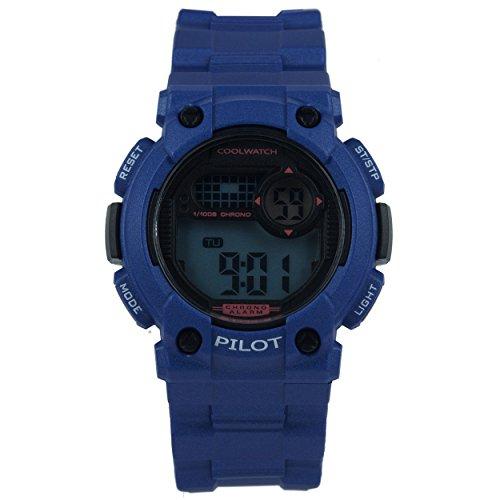 Coolwatch Junge Pilot, Digital Uhr Blau Kunststoff 10 ATM CW.276