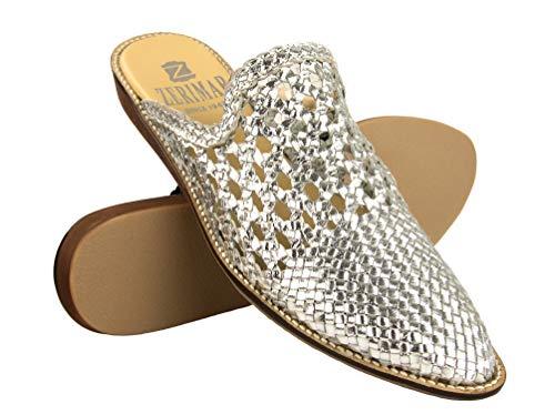 Zerimar Zapatos Vestir Mujer Planas | Mule Mujer con Punta | Mule Mujer Piel | Mules Zapatos | Zapatos Elegantes Cuero Mujer