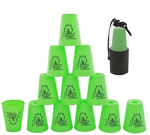 Pila tazas de 12 piezas, copas de apilamiento deportivas para entrenamiento, velocidad de juego, competición partido (verde)