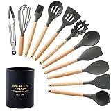 Juego de utensilios de cocina de 11 a 13 piezas de silicona para cocinar y hornear, cucharas resistentes al calor y antiadherentes, espátula, alicates, puré de patatas 12pcs black set